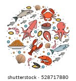 seafood icons set in round... | Shutterstock .eps vector #528717880