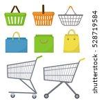 shopping bag  basket  trolley ...   Shutterstock .eps vector #528719584