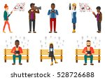 man sitting on a bench and... | Shutterstock .eps vector #528726688