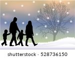 silhouette family of winter. | Shutterstock .eps vector #528736150