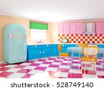 retro kitchen in cartoon style...   Shutterstock . vector #528749140
