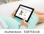 pregnant woman shopping online... | Shutterstock . vector #528753118