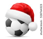 Soccer Ball In Red Santa Claus...