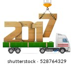 crane loads new year 2017 of... | Shutterstock .eps vector #528764329