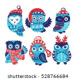 hand drawn winter owls... | Shutterstock .eps vector #528766684