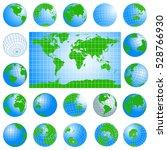 world map and globes green set. ...   Shutterstock .eps vector #528766930