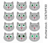 set of cute cat emoticons.... | Shutterstock .eps vector #528769930