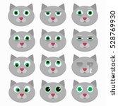 set of cute cat emoticons.... | Shutterstock .eps vector #528769930
