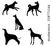 silhouette set of large dogs | Shutterstock . vector #528771166