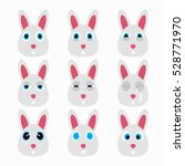 set of cute rabbit emoticons.... | Shutterstock .eps vector #528771970