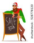 santa with sale board.... | Shutterstock .eps vector #528778120