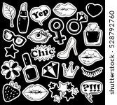black and white fun set of girl'... | Shutterstock .eps vector #528792760