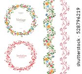 Stock vector romantic floral collection vertical seamless borders and plant wreaths for your design 528796219