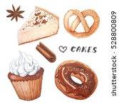 Watercolor Delicious Cakes Set. ...
