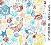 sea pattern. marine pattern.... | Shutterstock .eps vector #528801103