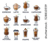 coffee types or kinds set.... | Shutterstock .eps vector #528810559