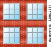 brick wall with windows  ... | Shutterstock .eps vector #528811954