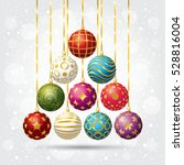 a set of christmas balls. new... | Shutterstock .eps vector #528816004