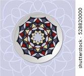 mandala plate. white plate with ... | Shutterstock .eps vector #528820000