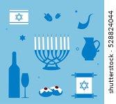 jewish holiday hanukkah icons... | Shutterstock .eps vector #528824044
