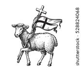 lamb with cross. religion... | Shutterstock .eps vector #528824068