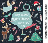 vector set of christmas doodle... | Shutterstock .eps vector #528826180