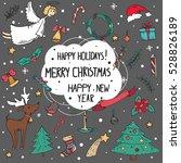vector set of christmas doodle... | Shutterstock .eps vector #528826189