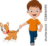 little boy running with puppy | Shutterstock .eps vector #528846490
