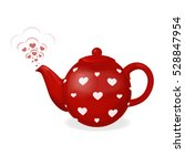 Red Tea Kettle In White Heart....