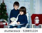 Cute Children  Boys  Reading A...