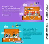 christmas travel banners in... | Shutterstock .eps vector #528862060