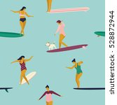girl surfers in bikini seamless ... | Shutterstock .eps vector #528872944