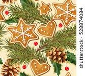 christmas ginger seamless   Shutterstock .eps vector #528874084