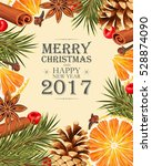 christmas card with mulled wine ... | Shutterstock .eps vector #528874090