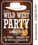 wild west party vertical poster ... | Shutterstock .eps vector #528878194