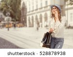 happy young woman with a... | Shutterstock . vector #528878938