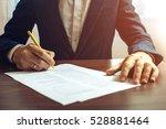 man businessman signs documents ... | Shutterstock . vector #528881464