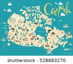 illustrated map of canada.... | Shutterstock .eps vector #528883270