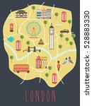 illustrated map of london.... | Shutterstock .eps vector #528883330
