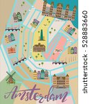 illustrated map of amsterdam.... | Shutterstock .eps vector #528883660