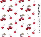 watercolor cherry seamless... | Shutterstock . vector #528887830