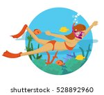 young girl diving under the... | Shutterstock .eps vector #528892960