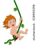 tarzan swinging on a tree | Shutterstock .eps vector #528905398
