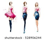 catwalk. watercolor fashion... | Shutterstock . vector #528906244