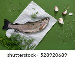 Raw Rainbow Trout Fish On White ...