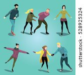 ice skating people. set of... | Shutterstock .eps vector #528925324