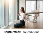 young woman sitting on her feet ... | Shutterstock . vector #528930850