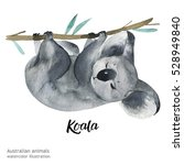 australian animals watercolor... | Shutterstock . vector #528949840