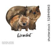 australian animals watercolor... | Shutterstock . vector #528949843