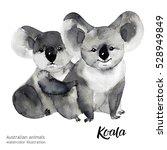 australian animals watercolor...   Shutterstock . vector #528949849